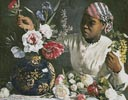 African Woman with Peonies 2 - Cross Stitch Chart