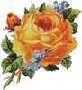 Antique Yellow Rose 2 - Cross Stitch Chart
