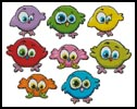 Cartoon Birds Singles - Cross Stitch Chart