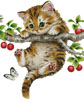 Cherry Kitten (No Background) - Cross Stitch Chart