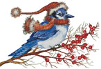 Christmas Blue Jay (No Background) - Cross Stitch Chart