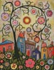 Collage Tree Village - Cross Stitch Chart