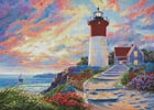 Colourful Lighthouse at Sunset - Cross Stitch Chart