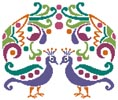 Colourful Peacocks - Cross Stitch Chart