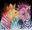 Colouful Zebras (Black Background) - Cross Stitch Chart