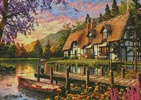 Cottage Evening Sunset - Cross Stitch Chart