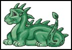 Cute Dragon (Green) - Cross Stitch Chart