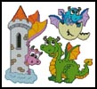 Cute Dragon Set - Cross Stitch Chart