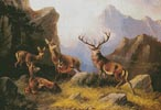 Deer in a Mountainous Landscape - Cross Stitch Chart