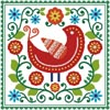 Folk Art Bird and Flowers - Cross Stitch Chart