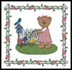 Garden Teddy Border 1 - Cross Stitch Chart