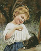 Girl Playing with a Kitten - (Facebook Group) Cross Stitch Chart