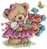 Girl Teddy with Flowers - Cross Stitch Chart
