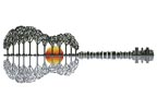 Guitar Landscape Sunset - Cross Stitch Chart