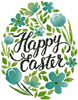 Happy Easter Floral Egg (Blue) - Cross Stitch Chart