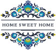Home Sweet Home Polish Folk Art Design 2 - Cross Stitch Chart