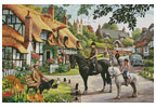 Horse Riders in the Village - Cross Stitch Chart
