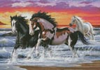 Horses on a Beach - Cross Stitch Chart