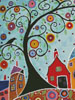 Houses, Barn, Birds and Swirl Tree (Crop) - Cross Stitch Chart
