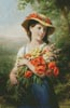 Girl with a Bouquet of Wild Flowers - Cross Stitch Chart