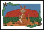 Kangaroo Teddy Border 1 - Cross Stitch Chart