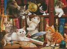 Kittens in the Library (Large) - Cross Stitch Chart