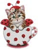 Ladybug Kitty Cup - Cross Stitch Chart