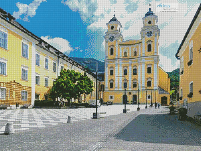 Basilica St. Michael, Mondsee, Austria - Cross Stitch Chart - Click Image to Close
