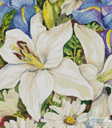 A Blue and White Mix (Crop) - Cross Stitch Chart - Click Image to Close
