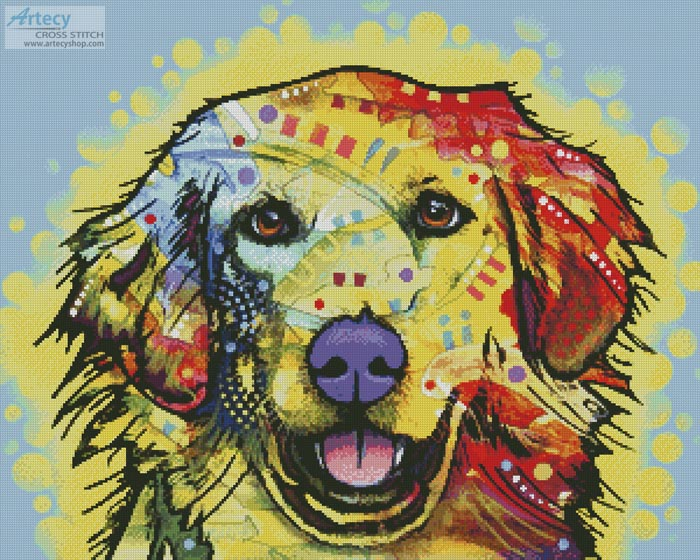 Abstract Golden Retriever - Cross Stitch Chart - Click Image to Close