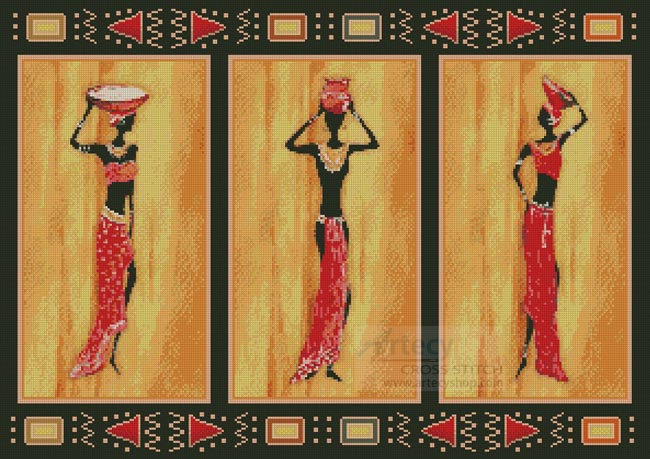 African Style - Cross Stitch Chart - Click Image to Close
