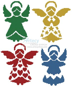 Angel Silhouettes - Cross Stitch Chart - Click Image to Close