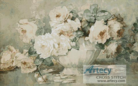 Antique Roses - Cross Stitch Chart - Click Image to Close
