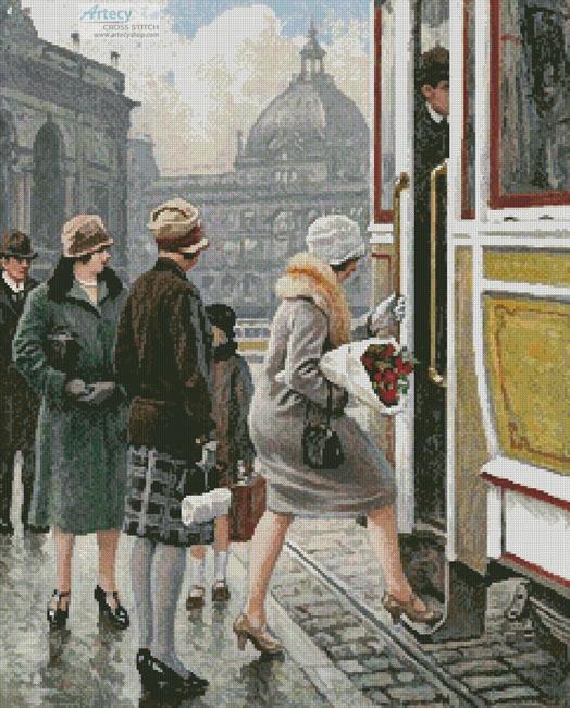 At the Tram Stop - Cross Stitch Chart - Click Image to Close