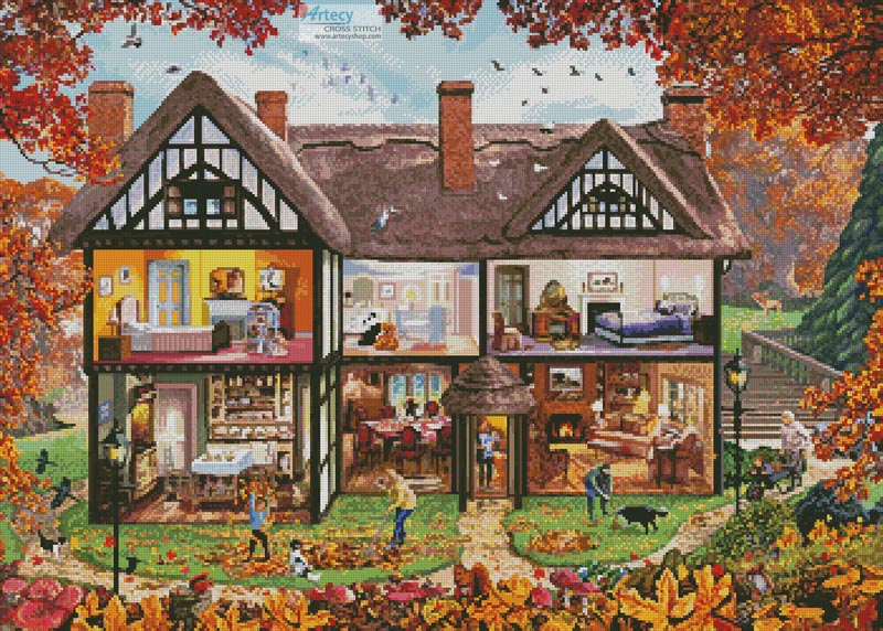 Autumn House - Cross Stitch Chart - Click Image to Close