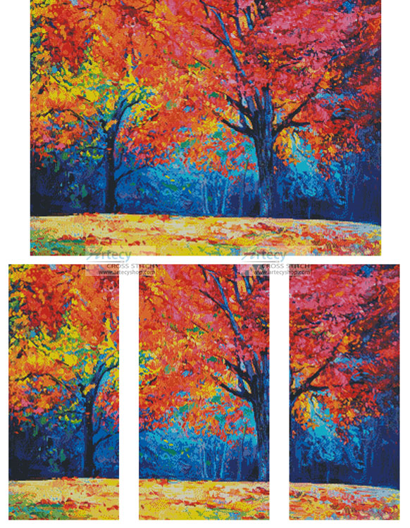 Autumn Landscape Abstract - Cross Stitch Chart - Click Image to Close