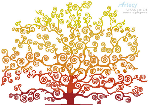 Autumn Tree Silhouette - Cross Stitch Chart - Click Image to Close