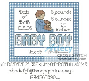 Baby Boy Sampler 2 - Cross Stitch Chart - Click Image to Close