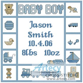 Baby Boy Sampler 1 - Cross Stitch Chart - Click Image to Close