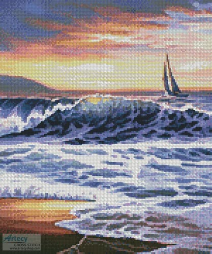 Beach Sunset Lighthouse (Crop) - Cross Stitch Chart - Click Image to Close
