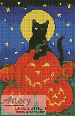 Black Cat and Pumpkins - Cross Stitch Chart - Click Image to Close