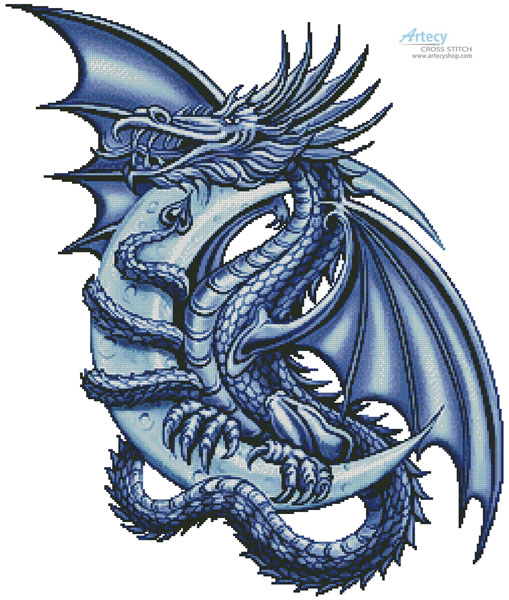 Blue Dragon - Cross Stitch Chart - Click Image to Close