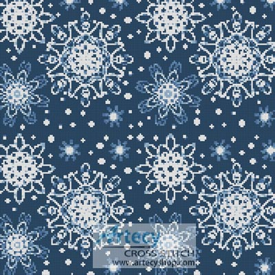 Blue Snowflakes Cushion - Cross Stitch Chart - Click Image to Close
