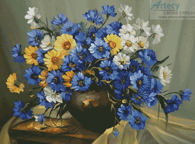 Bouquet of Blue - Cross Stitch Chart - Click Image to Close