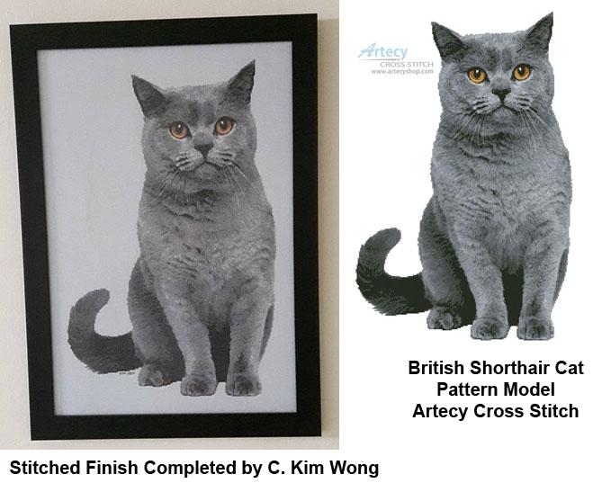 British Shorthair Cat Cross Stitch Pattern To Print Online