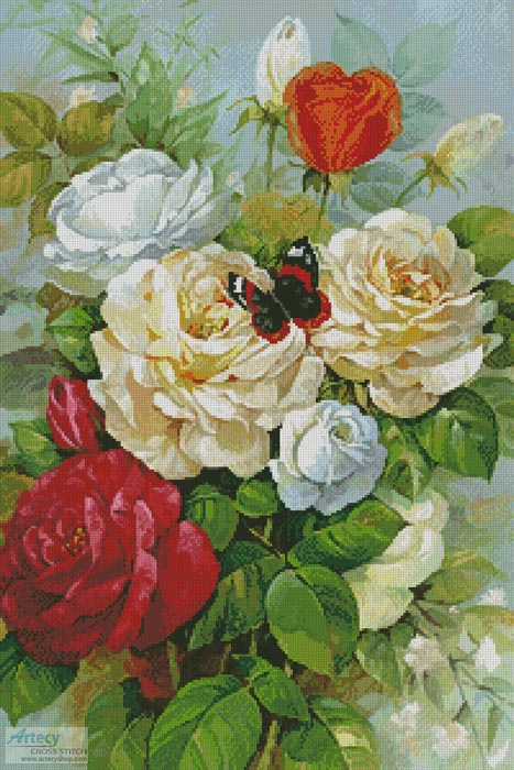 Butterfly and Roses - Cross Stitch Chart - Click Image to Close