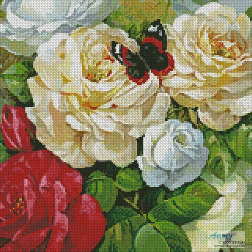 Butterfly and Roses (Crop) - Cross Stitch Chart - Click Image to Close