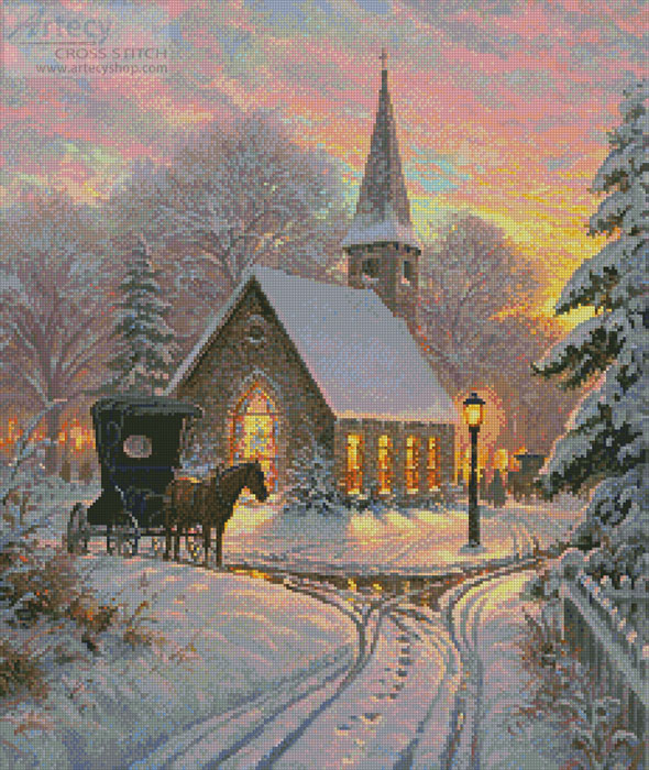 Carriage Chapel - Cross Stitch Chart - Click Image to Close