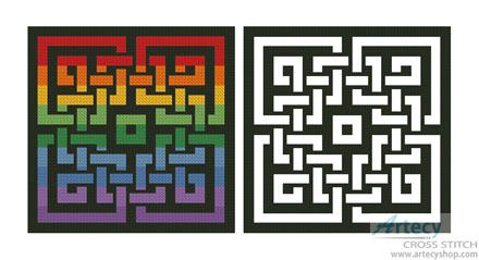 Celtic Rainbow Design - Cross Stitch Chart - Click Image to Close