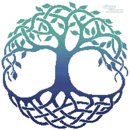 Celtic Tree of Life 3 - Cross Stitch Chart - Click Image to Close